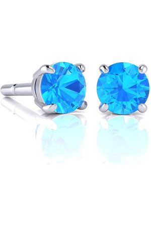SuperJeweler Women Earrings - 2 3/4 Carat Round Shape Topaz Stud Earrings in Sterling Silver by