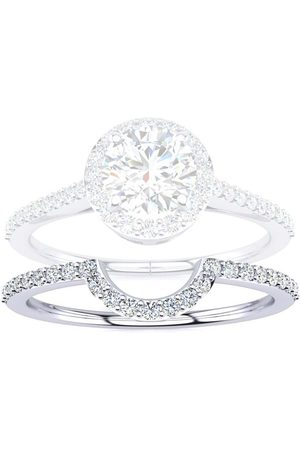 SuperJeweler 1/5 Carat Blue Diamond Halo Engagement Ring in 14k (2.8 g)