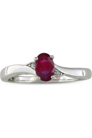 SuperJeweler 1/2 Carat Ruby & 2 Diamond Ring in Sterling Silver
