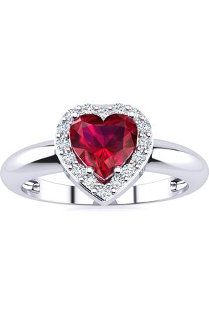 SuperJeweler 1 Carat Heart Shaped Created Ruby & 2 Diamond Ring