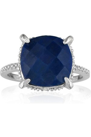 SuperJeweler 7 1/2 Carat Rough Cut Sapphire & 4 Diamond Ring in Sterling