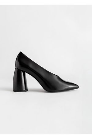 & OTHER STORIES Flared Block Heel Leather Pumps