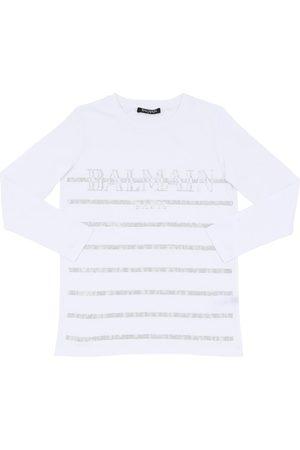 Balmain Girls T-shirts - Embellished L/s Cotton Jersey T-shirt
