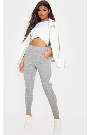 PRETTYLITTLETHING Women Skinny Pants - Lead Grey Tweed Check Skinny Pants