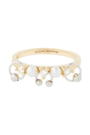 DELFINA DELETTREZ Two In One Diamond, Pearl & 18kt Gold Ring - Womens - Pearl