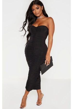 PRETTYLITTLETHING Shape Bandeau Ruched Midaxi Dress