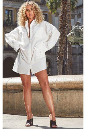 PRETTYLITTLETHING Women Long sleeves - Pocket Detail Long Sleeve Shirt Dress