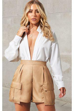 PRETTYLITTLETHING Women Shorts - Camel Pocket Detail Cargo Shorts