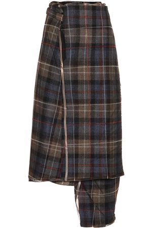 Y / PROJECT Checked wool midi skirt