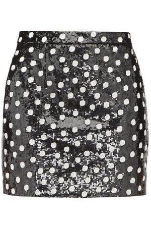 Saint Laurent Sequinned Polka Dot Wool Mini Skirt - Womens