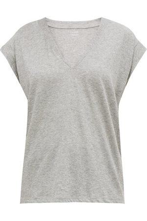Frame Le Mid V-neck Cotton T-shirt - Womens - Grey