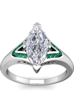 SuperJeweler 14kwg 1 Carat marquise & 1/6 Carat emerald ring