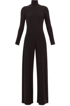 Norma Kamali High-neck Jersey Wide-leg Jumpsuit - Womens