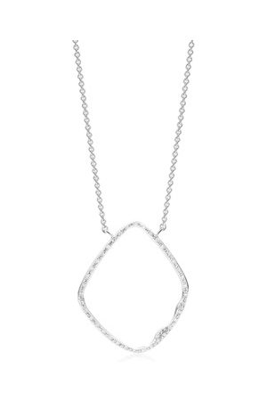 Monica Vinader Women Necklaces - Sterling Silver Riva Hoop Cocktail Diamond Necklace Diamond
