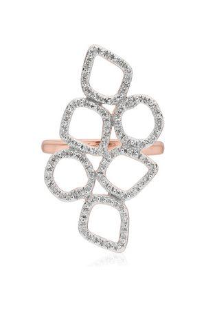 Monica Vinader Rose Gold Riva Mini Cluster Cocktail Diamond Ring Diamond