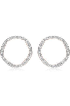 Monica Vinader Rose Gold Riva Large Circle Stud Diamond Earrings Diamond