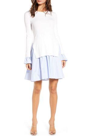 ENGLISH FACTORY Women's Combo Knit & Poplin Dress