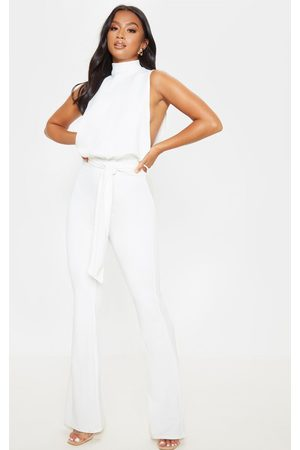 PRETTYLITTLETHING Women Jumpsuits - Petite Scuba High Neck Tie Waist Jumpsuit