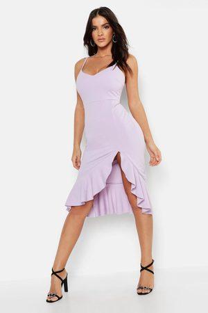 Boohoo Womens Strappy Frill Hem Midi Dress - - 4