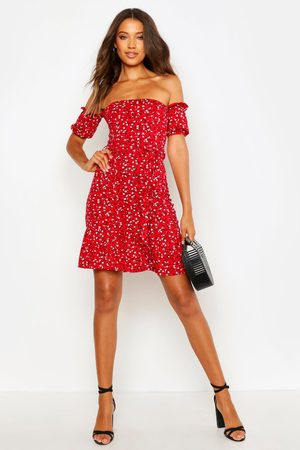 Boohoo Womens Tall Ditsy Floral Off The Shoulder Skater Dress - - 2