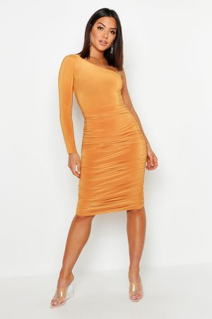 Boohoo Womens One Shoulder Double Layer Slinky Midi Dress - - 4