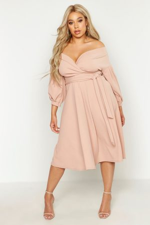 Boohoo Womens Plus Off Shoulder Full Skirted Wrap Midi Dress - - 24