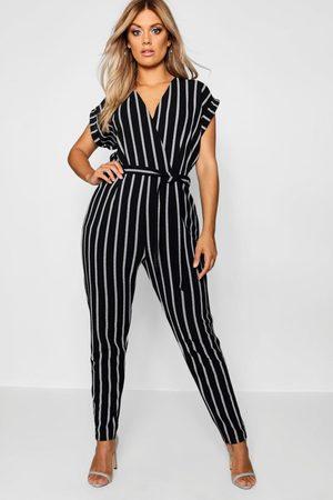 Boohoo Womens Plus Pinstripe Tailored Jumpsuit - - 12