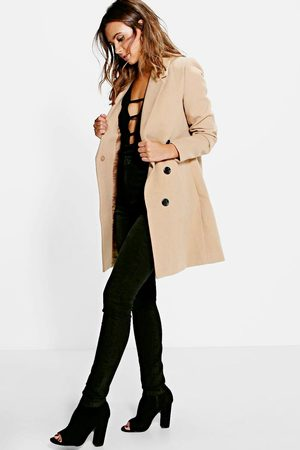 Boohoo Womens Petite Double Breasted Camel Duster Coat - - 2