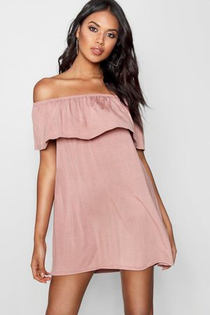 Boohoo Womens Off The Shoulder Swing Dress - - 4
