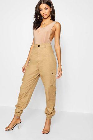 Boohoo Womens High Waist Woven Pocket Cargo Pants - - 4