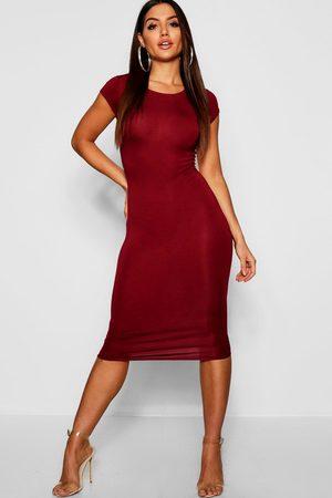 Boohoo Womens Cap Sleeve Jersey Bodycon Midi Dress - - 10