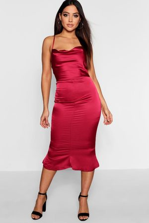 Boohoo Womens Satin Cowl Neck Lace Up Fish Tail Midi Dress - - 4