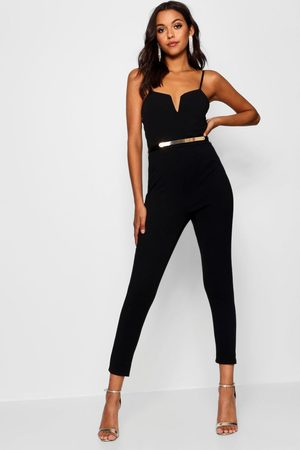 Boohoo Womens Plunge Belted Jumpsuit - - 4