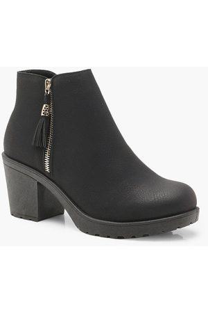 Boohoo Womens Wide Fit Zip Side Chunky Heel Chelsea Boots - - 5