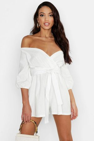 Boohoo Womens Linen Mix Off The Shoulder Belted Wrap Romper - - 2
