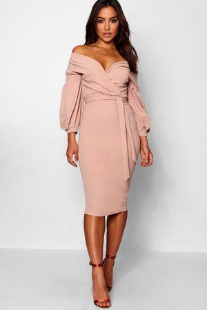 Boohoo Womens Off the Shoulder Wrap Midi Dress - - 4
