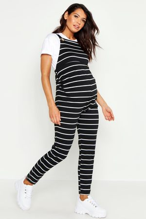 Boohoo Womens Maternity Stripe Dungaree - - 4
