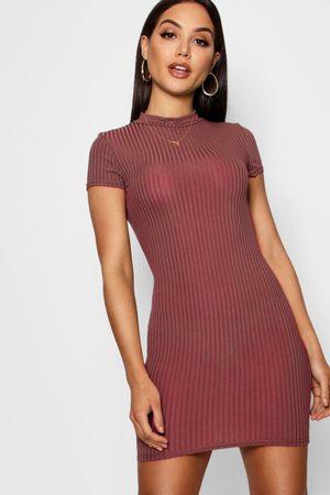 Boohoo Womens High Neck Cap Sleeve Rib Bodycon Dress - - 4