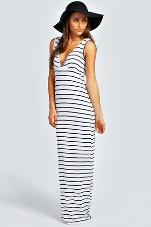Boohoo Womens Petite Plunge Striped Jersey Maxi Dress - - 2