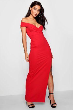 Boohoo Womens Wrap Top Off Shoulder Maxi Dress - - 4