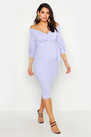 Boohoo Womens Maternity Off The Shoulder Wrap Midi Dress - - 4