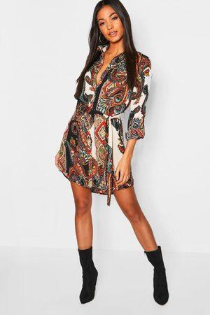 Boohoo Womens Paisley Shirt Dress - - 4