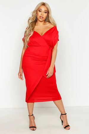 Boohoo Women Strapless Dresses - Womens Plus Off The Shoulder Wrap Front Belted Midi Dress - - 12