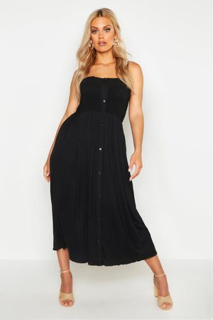 Boohoo Womens Plus Button Detail Shirred Midi Dress - - 12