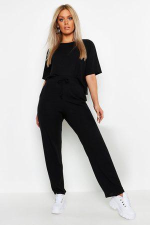 Boohoo Womens Plus Soft Rib Basic T-Shirt & Pants Two-Piece - - 18