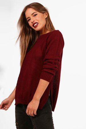 Boohoo Womens Petite Side Split Tunic Sweater - - 2