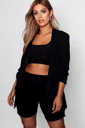 Boohoo Womens Plus Ruched Sleeve Blazer - - 12