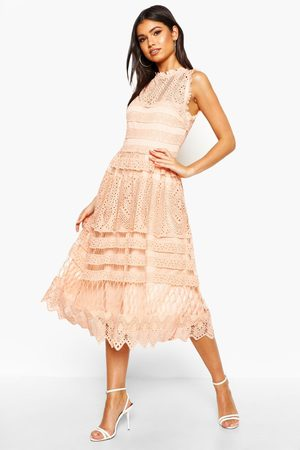 Boohoo Womens Boutique Lace Skater Bridesmaid Dress - - 4