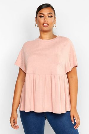 Boohoo Womens Plus Super Soft Rib Smock Top - - 18