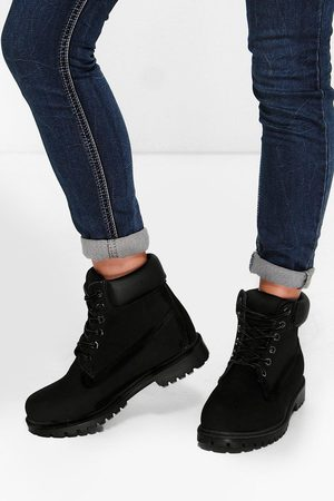 Boohoo Womens Padded Cuff Lace Up Hiker Boots - - 5